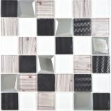 Transparentes Crystal Glasmosaik silber