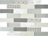 Transluzent Mosaik Brick ECO Glasmosaik Retro grau Wand Fliesenspiegel Küche Dusche Bad MOS88-R002_f | 10 Mosaikmatten
