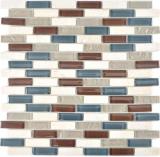 Transluzent Mosaik Verbund Glasmosaik Stein botticino klar grau braun