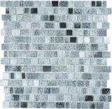 Transparentes Crystal Mosaik Glasmosaik grau schwarz Wand Fliesenspiegel Küche  Bad_f | 10 Mosaikmatten