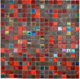 Glas Glasmosaik braun rot Wand Fliesenspiegel Küche  Bad