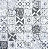 Transparentes Crystal Glasmosaik Retro schwarz&weiss Wand Fliesenspiegel Küche Bad MOS63-0103_f | 10 Mosaikmatten