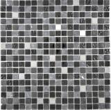 Transluzent   Edelstahl Glasmosaik Stein Stahl schwarz Glas matt Wand Fliesenspiegel Küche  Bad
