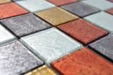 Transparentes Crystal Glasmosaik gold silber schwarz rot Struktur Wand Fliesenspiegel Küche  Bad