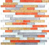 Transparentes Crystal Mosaik Verbund Glasmosaik gold silber schwarz rot Struktur