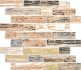 Transluzent Mosaik Brick Verbund ECO Glasmosaik old Wood Holz  Wand Fliesenspiegel Küche  Bad
