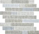 Transluzent Mosaik Brick Verbund ECO Glasmosaik Textil grau Wand Fliesenspiegel Küche Bad MOS24-2097_f | 10 Mosaikmatten