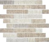 Transluzent Mosaik Brick Verbund ECO Glasmosaik Textil beige Wand Fliesenspiegel Küche Bad MOS24-2099_f | 10 Mosaikmatten