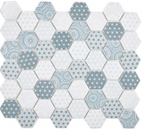 GLAS Mosaik Hexagon ECO blau Mosaikfliese Wand Fliesenspiegel Küche Bad