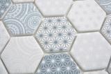 GLAS Mosaik Hexagon ECO blau Mosaikfliese Wand Fliesenspiegel Küche Bad MOS16-0414_m