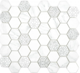 GLAS Mosaik Hexagon ECO Carrara Mosaikfliese Wand Fliesenspiegel Küche Bad