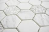 GLAS Mosaik Hexagon ECO Carrara Mosaikfliese Wand Fliesenspiegel Küche Bad MOS16-0222_m
