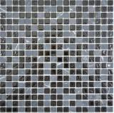 Transluzent   Glasmosaik Stein grau schwarz Mosaikfliese Wand Fliesenspiegel Küche Bad