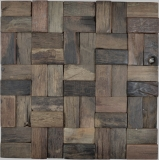 Holz Mosaik Parkett boot OLD Wood Holz FSC Mosaikfliese Wand Fliesenspiegel Küche Bad