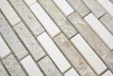 Marmor Mosaik Verbund Stein grau weiss Mosaikfliese Wand Fliesenspiegel Küche Bad MOS87-0201_m