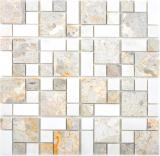 Marmor Mosaik Stein grau weiss Mosaikfliese Wand Fliesenspiegel Küche Bad