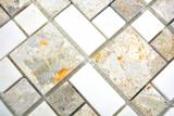Marmor Mosaik Stein grau weiss Mosaikfliese Wand Fliesenspiegel Küche Bad MOS88-0201_m