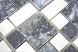 Marmor Mosaik Stein schwarz weiß Mosaikfliese Wand Fliesenspiegel Küche Bad MOS88-0302_m