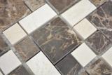 Marmor Mosaik Stein emperador dark cremarfil Mosaikfliese Wand Fliesenspiegel Küche Bad MOS88-1312_m