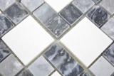 Marmor Mosaik Stein schwarz grau weiß Mosaikfliese Wand Fliesenspiegel Küche Bad MOS88-0321_m