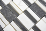 Marmor Mosaik Stein schwarz weiß Mosaikfliese Wand Fliesenspiegel Küche Bad MOS88-0103_m