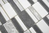 Marmor Mosaik Stein schwarz grau weiß Mosaikfliese Wand Fliesenspiegel Küche Bad MOS88-0123_m