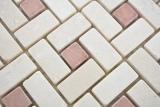 Marmor Mosaik Rad Stein cremarfil pink rose Marmor Mosaik Rad Stein grau panther polished MOS88-B27_m