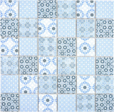 Keramik Mosaik blau Mosaikfliese Wand Fliesenspiegel Küche Bad