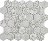 Keramik Mosaik Hexagon grau Mosaikfliese Wand Fliesenspiegel Küche Bad MOS11H-0002_f