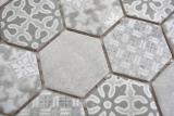 Keramik Mosaik Hexagon grau Mosaikfliese Wand Fliesenspiegel Küche Bad MOS11H-0002_m