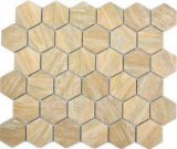 Keramik Mosaik Hexagon beige braun Holzoptik MOS11H-0011
