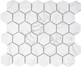 Keramik Mosaik Hexagon Carrara weiß glänzend Mosaikfliese Wand Fliesenspiegel Küche Bad MOS11H-0001_f
