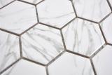 Keramik Mosaik Hexagon Carrara weiß glänzend Mosaikfliese Wand Fliesenspiegel Küche Bad MOS11H-0001_m