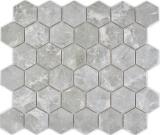 Keramik Mosaik Hexagon Marmor grau glänzend Mosaikfliese Wand Fliesenspiegel Küche Bad MOS11H-0201_f