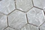 Keramik Mosaik Hexagon Marmor grau glänzend Mosaikfliese Wand Fliesenspiegel Küche Bad MOS11H-0201_m