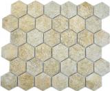 Keramik Mosaik Hexagon Granit beige Mosaikfliese Wand Fliesenspiegel Küche Bad