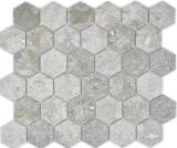 Keramik Mosaik Hexagon Granit grau Mosaikfliese Wand Fliesenspiegel Küche Bad