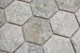 Keramik Mosaik Hexagon Granit grau Mosaikfliese Wand Fliesenspiegel Küche Bad MOS11H-0023_m
