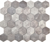 Keramik Mosaik Hexagon Zement dunkelgrau