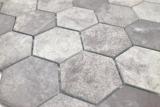 Keramik Mosaik Hexagon Zement dunkelgrau Mosaikfliese Wand Fliesenspiegel Küche Bad MOS11H-0026_m