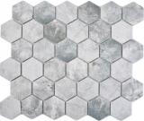 Keramik Mosaik Hexagon Zement hellgrau Mosaikfliese Wand Fliesenspiegel Küche Bad MOS11H-0222_f
