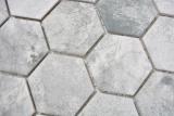Keramik Mosaik Hexagon Zement hellgrau Mosaikfliese Wand Fliesenspiegel Küche Bad MOS11H-0222_m
