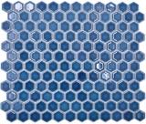 Keramik Mosaik Hexagon blaugrün glänzend Mosaikfliese Wand Fliesenspiegel Küche Bad MOS11H-0405_f