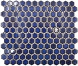 Keramik Mosaik Hexagon kobaltblau glänzend Mosaikfliese Wand Fliesenspiegel Küche Bad MOS11H-0444_f