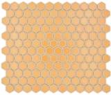 Keramik Mosaik Hexagon ockerorange glänzend Mosaikfliese Wand Fliesenspiegel Küche Bad MOS11H-1308_f