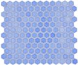 Keramik Mosaik Hexagon türkisgrün glänzend Mosaikfliese Wand Fliesenspiegel Küche Bad MOS11H-0506_f