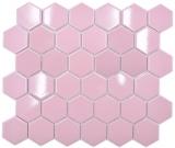 Keramik Mosaik Hexagon altrosa glänzend Mosaikfliese Wand Fliesenspiegel Küche Bad