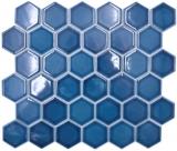 Keramik Mosaik Hexagon blaugrün glänzend Mosaikfliese Wand Fliesenspiegel Küche Bad MOS11H-0504_f