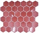 Keramik Mosaik Hexagon Bordüreauxrot glänzend Mosaikfliese Wand Fliesenspiegel Küche Bad