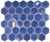 Keramik Mosaik Hexagon kobaltblau glänzend Mosaikfliese Wand Fliesenspiegel Küche Bad